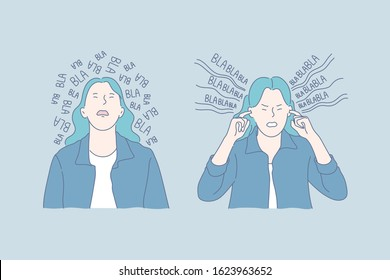 Mental health, gossip, stress set concept. Young woman is tired of gossips all around and plugs her ears. Tired girl has weak mental health. Informative noise can raise stress level Simple flat vector