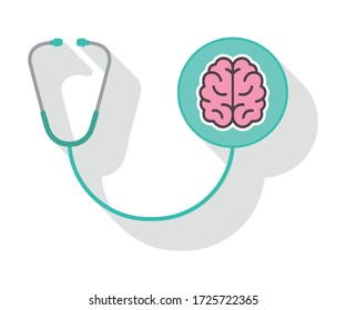 Mental health icon. Stethoscope with Brain. White background. Vector illustration.