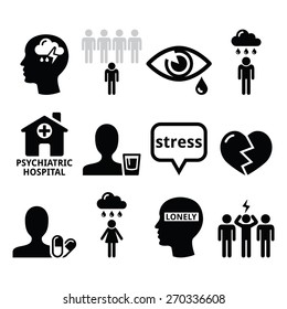 Mental health icons - depression, addiction, loneliness concept