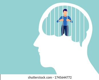 Mental health, illness ,brain development ,medical treatment  concept, sad and unhappy man were imprisoned by human brain with cage of thought , vector illustration