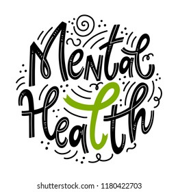 Mental Health. Motivational and Inspirational quotes for Mental Health Day. Design for print, poster, invitation, t-shirt, badges. Vector illustration