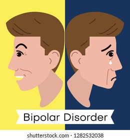Mental health problem illustration. Vector image of a happy and sad face. Opposite emotions. Symptoms of Bipolar Disorder