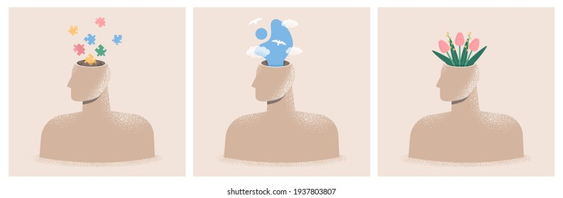 Mental health, psychology concept set. Collection of illustrations of human heads. Psychological wellness, positive thinking, emotions, creativity. World mental health day. Isolated flat vectors