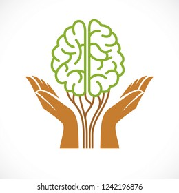 Mental health and psychology concept, vector icon or logo design. Human anatomical brain in a shape of green tree with tender guarding hands, growth and heyday of personality and individuality.