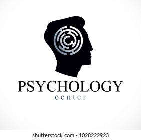Mental health and psychology conceptual logo or icon created with man face profile and maze, psychoanalysis and psychotherapy of human mind concept. Vector simple classic design.