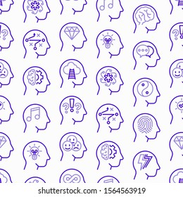 Mental health seamless pattern with thin line icons: mental growth, negative thinking, emotional reasoning, logical plan, obsession, brilliant thought, self identity. Modern vector illustration.