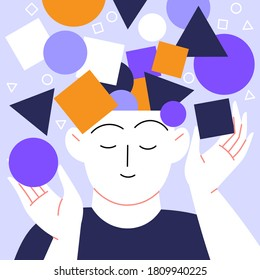 Mental health self help concept flat illustration. A person with abstract geometric figures coming from their head. Peaceful vibe