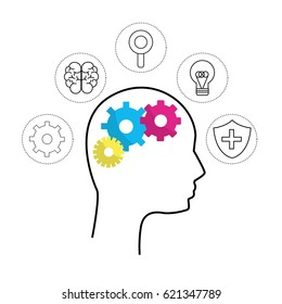 mental health silhouette person with gear brain and tips