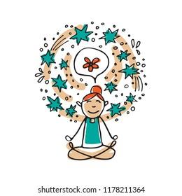 Mental health symbol – meditation. Occupational burnout prevention. Doodle style. Design elements for brochures or web publication.