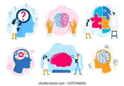 Mental health therapy. Emotional state, mentality healthcare and medical therapies prevention mental problem vector illustration set