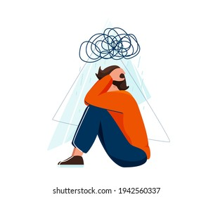 Mental health vector illustration. Sad depressed man sitting and holding his head, a cloud of chaos over him. Stress concept in flat simple style isolated on white background.