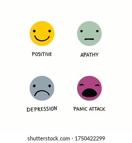 Mental health vector logos in flat style. Positive icon. Apathy icon. Depression icon. Panic attack icon. Cartoon faces with hand written psychological states.