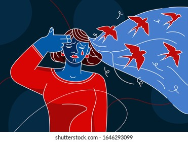 Mental health women. Girl shooting fingers temple, think suicide. Concept of depression, mental disorder. Also psychiatry patient PTSD, self harm, personality disorder, exhausted by anxiety, addiction