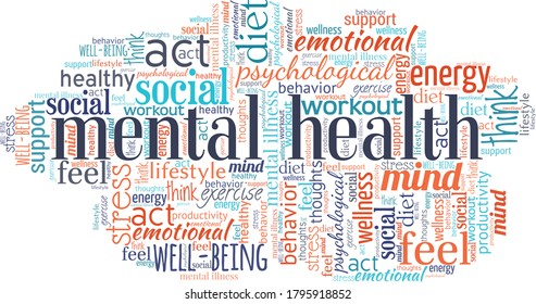 Mental health word cloud isolated on a white background.