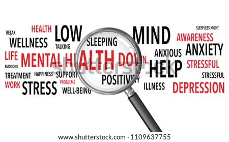 Mental Health Words Background Magnifying Glass