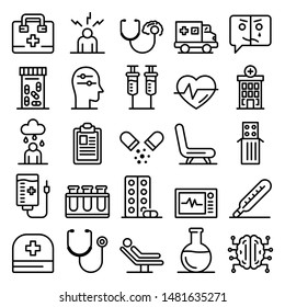 Mental hospital icons set. Outline set of mental hospital vector icons for web design isolated on white background