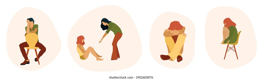 Mental problems people vector set. Depression help. Psychologist work. Emotions. Refusing to talk, Man, woman, children coping with problems. sitting. Closed poses. Psychological care.