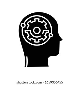 Mental process black icon, concept illustration, vector flat symbol, glyph sign.