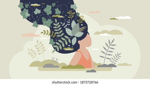 Mental wellbeing as spiritual, healthy and creative mind tiny person concept. Artistic world or thoughts with inner peace and harmony care vector illustration. Imagination from meditation or knowledge