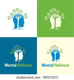 Mental Wellness Logo and Icon - Vector Illustration