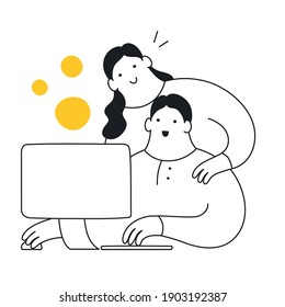 Mentoring, coaching, and training. Team help, teamwork. Worker teaches another worker. Flat thin outline elegant vector illustration on white.