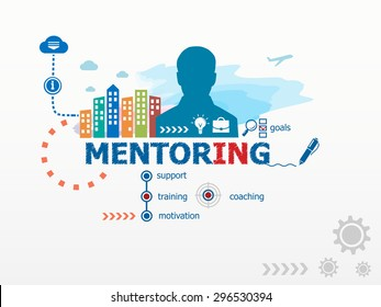 Mentoring concept and business man. Flat design illustration for business, consulting, finance, management, career.