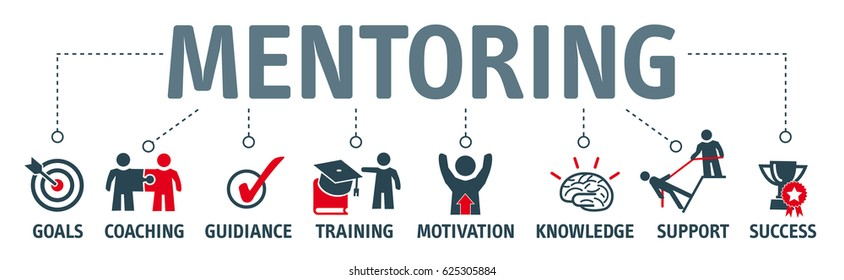 Mentoring concept. Chart with keywords and icons