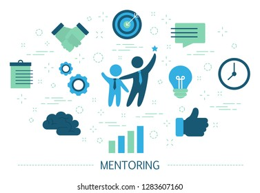 Mentoring concept. Giving advice for career success. Guidance in business. Support and motivation. Set of colorful icons. Isolated flat vector illustration