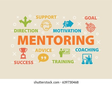MENTORING. Concept with icons and signs.
