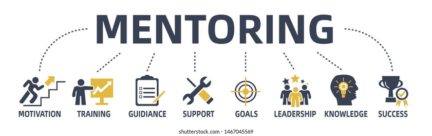 mentoring concept web banner with keywords and icons