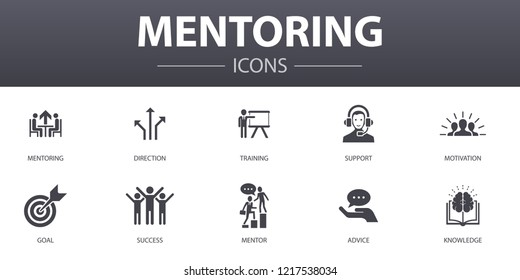 Mentoring simple concept icons set. Contains such icons as direction, training, motivation, success and more, can be used for web, logo, UI/UX