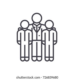 mentor,mentorship,coaching vector line icon, sign, illustration on background, editable strokes
