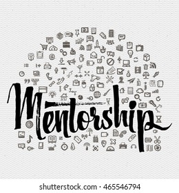 Mentorship lettering concept and business icons. Mentorship design illustration concepts for business, consulting, finance, management, caree.