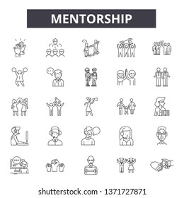 Mentorship line icons, signs set, vector. Mentorship outline concept, illustration: mentorship,business,management,career,employee,development,human,team