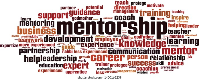 Mentorship word cloud concept. Collage made of words about mentorship. Vector illustration
