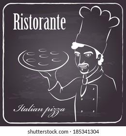 menu background for restaurant on chalkboard. Italian chef presenting his pizza. vector illustration.