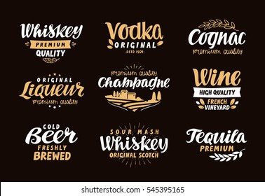 Menu bar, icons set. Labels of alcoholic drinks such as whiskey, vodka, wine, liqueur, champagne, beer, tequila, cognac. Symbols, vector illustration