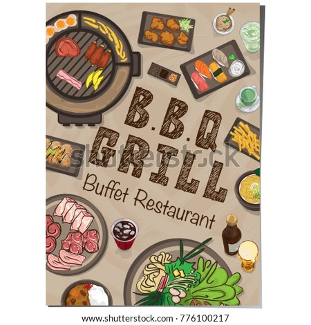 menu barbecue grill restaurant template design stock vector royalty