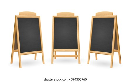 Menu Black Board Isolated Set. Different View. Vector illustration