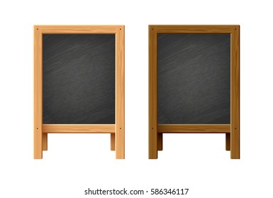 Menu black chalk board vector illustration.Wooden stand isolated on white background
