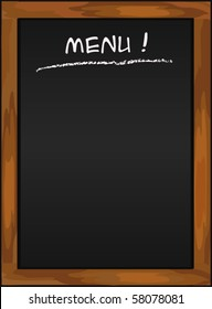 Menu blackboard - black chalkboard vector