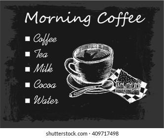 menu board, morning coffee, sketch