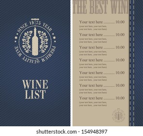 menu with a bottle of wine on denim