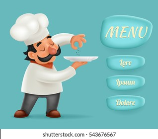Menu Buttons Interface Chef Cook Serving Food 3d Realistic Cartoon Character Design Isolated Vector Illustrator
