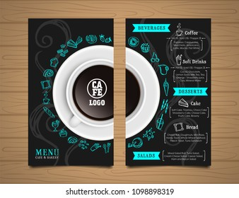Menu cafe and bakery with big coffee cup top view on cover and drawing elements on black color background front and back layout template