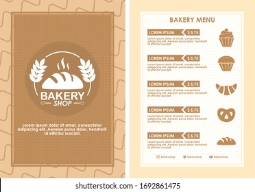 Menu cafe and bakery layout template