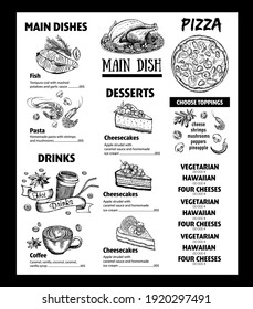 Menu cafe restaurant design template. Flyer with hand-drawn graphic.