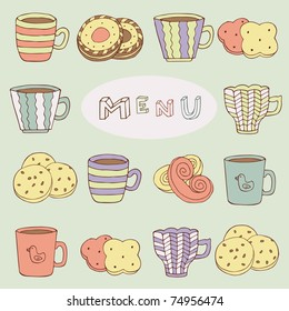 menu card with cookies and cups