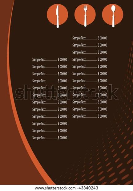 Menu Card Design Template Stock Vector Royalty Free 43840243