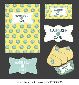 Menu and card template blueberry vector cafe style, label, cupcake and logo
